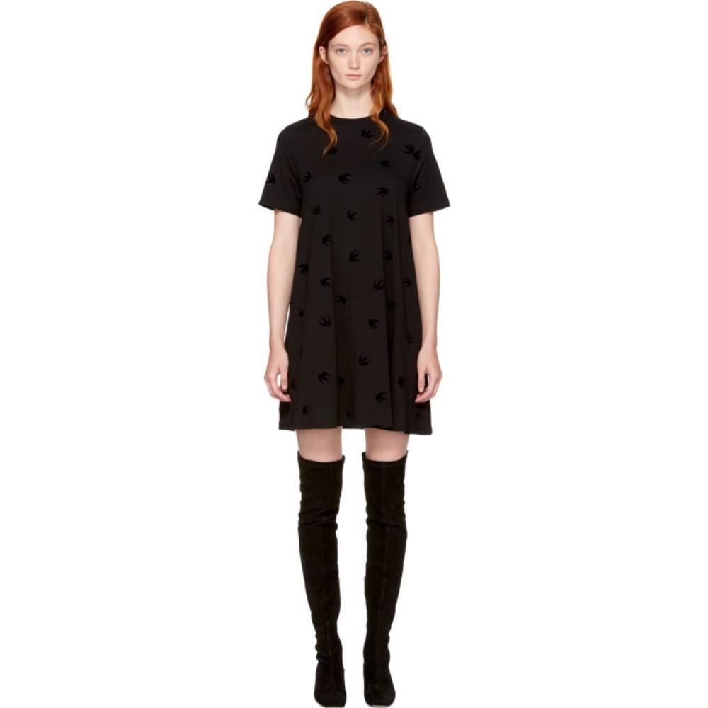 アレキサンダー マックイーン レディース ワンピース・ドレス ワンピース【Black Micro Swallow Babydoll T-Shirt Dress】