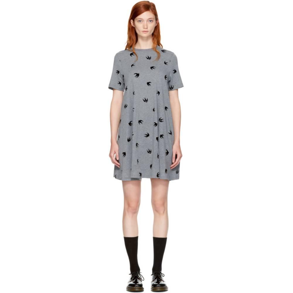 アレキサンダー マックイーン レディース ワンピース・ドレス ワンピース【Grey Micro Swallow Babydoll T-Shirt Dress】