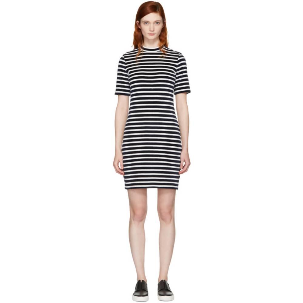アレキサンダー ワン レディース ワンピース・ドレス ワンピース【Navy & White Striped Velour Dress】