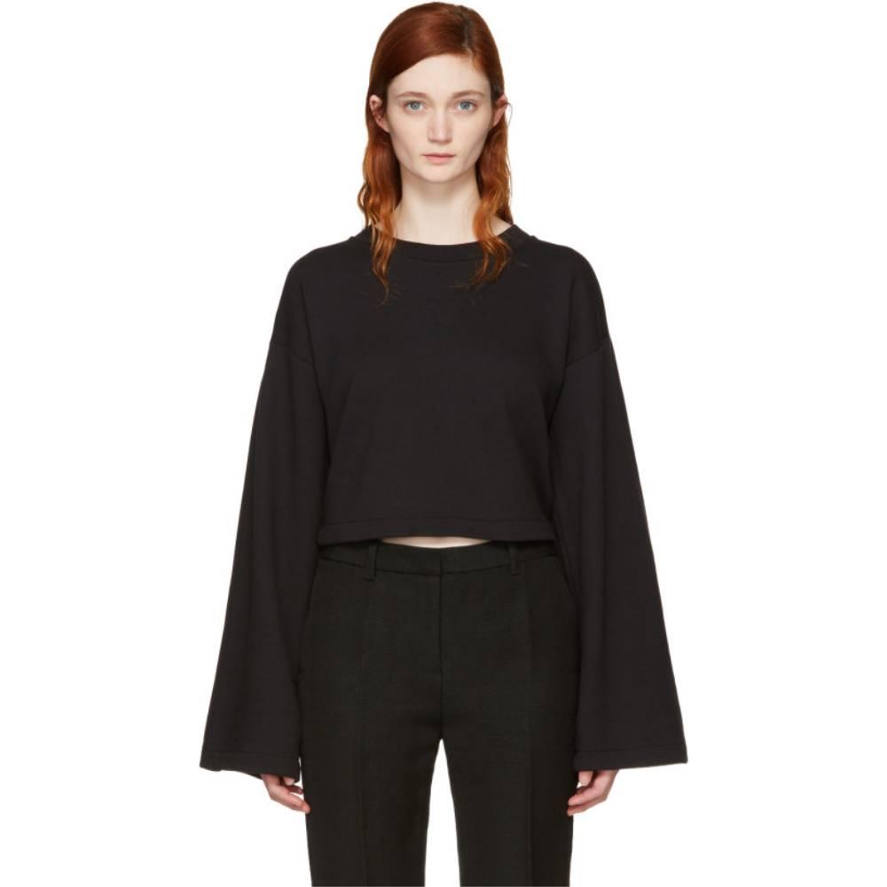 アレキサンダー ワン レディース トップス スウェット・トレーナー【Black Cropped Tie-Back Sweatshirt】