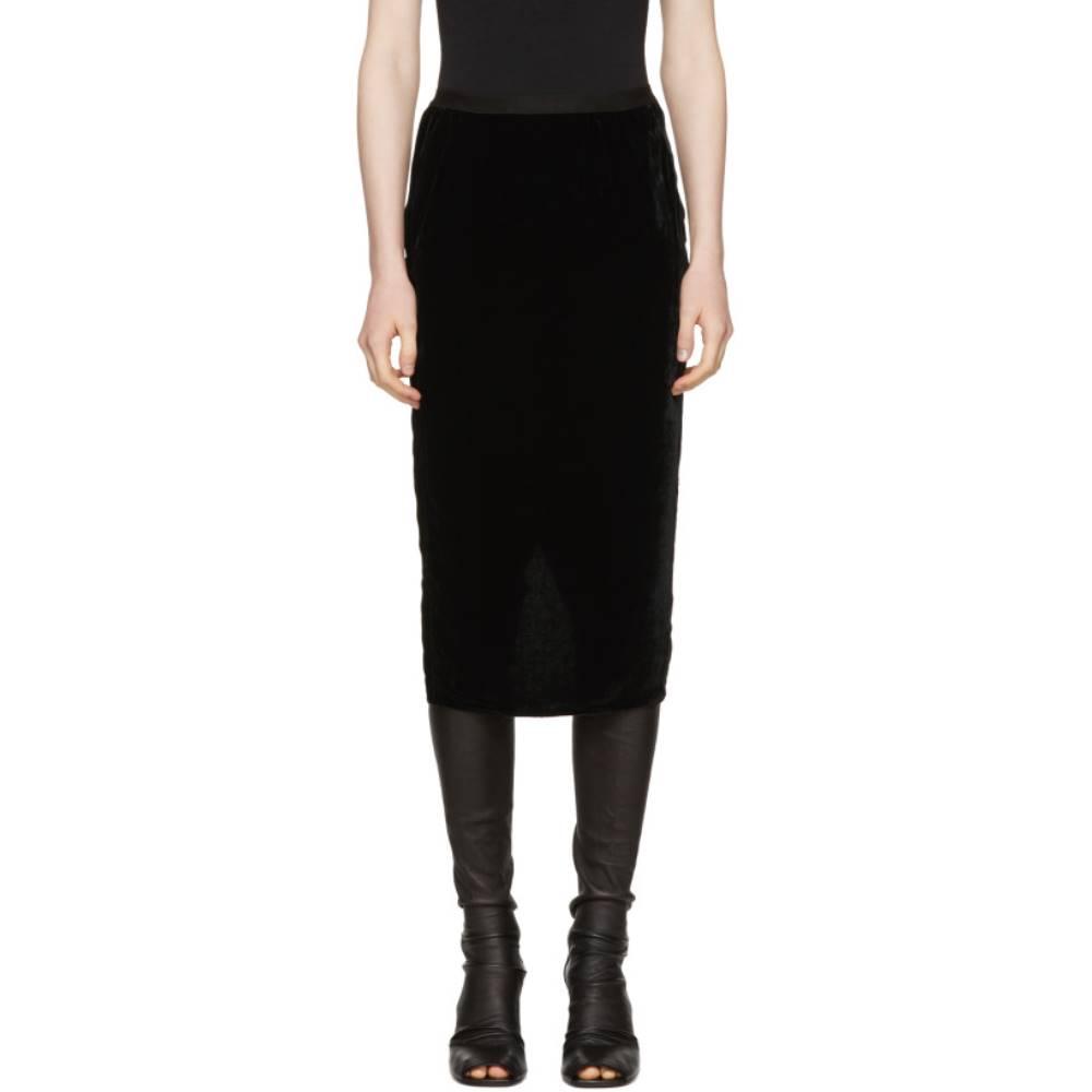 リック オウエンス レディース スカート ひざ丈スカート【Black Velvet Pillar Skirt】