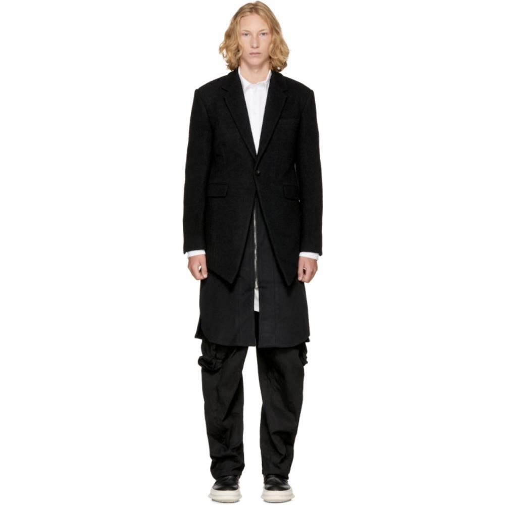 ディナック メンズ アウター コート【Black Front Oblique Layered Coat】