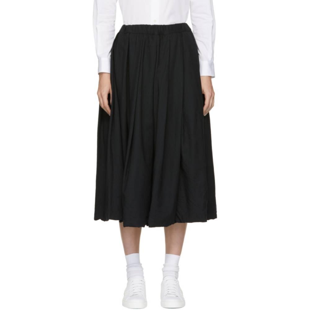 コム デ ギャルソン レディース スカート ひざ丈スカート【Navy Wool Pinstripe Drawstring Skirt】