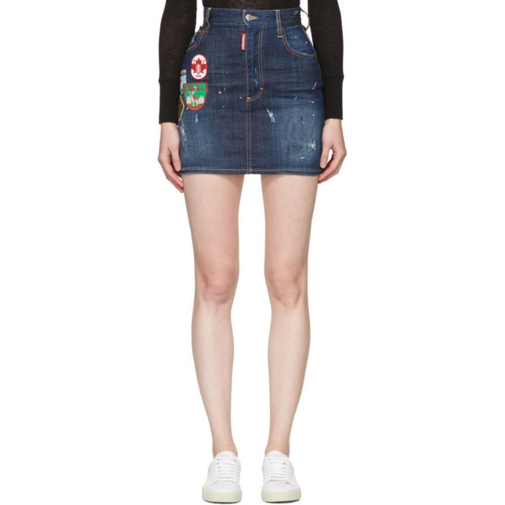 ディースクエアード レディース スカート ミニスカート【Blue Patchwork Denim Miniskirt】