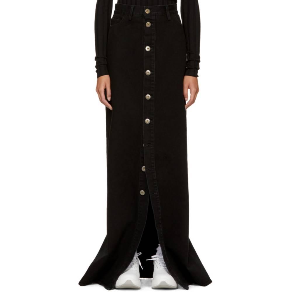 マシュー アダムズ ドーラン レディース スカート ロング・マキシ丈スカート【SSENSE Exclusive Black Denim Skirt】
