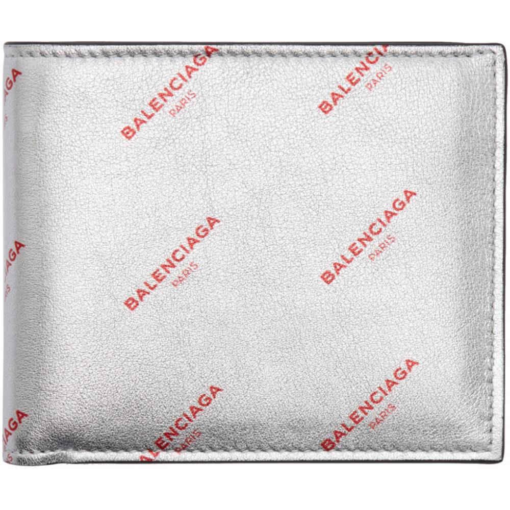 �レンシアガ メンズ 財布�Silver All Over Logo Bifold Wallet】