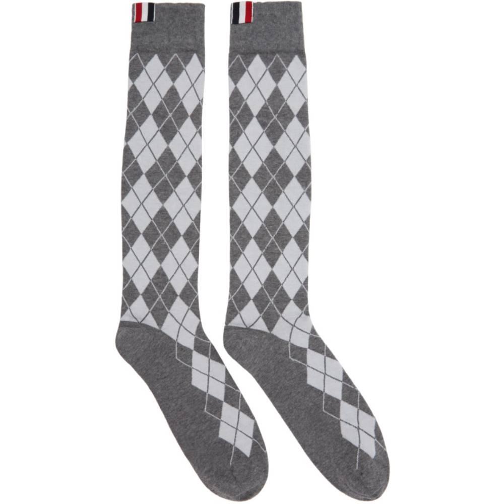 トム ブラウン メンズ インナー・下着 ソックス【Grey Argyle Intarsia Over-the-Calf Socks】