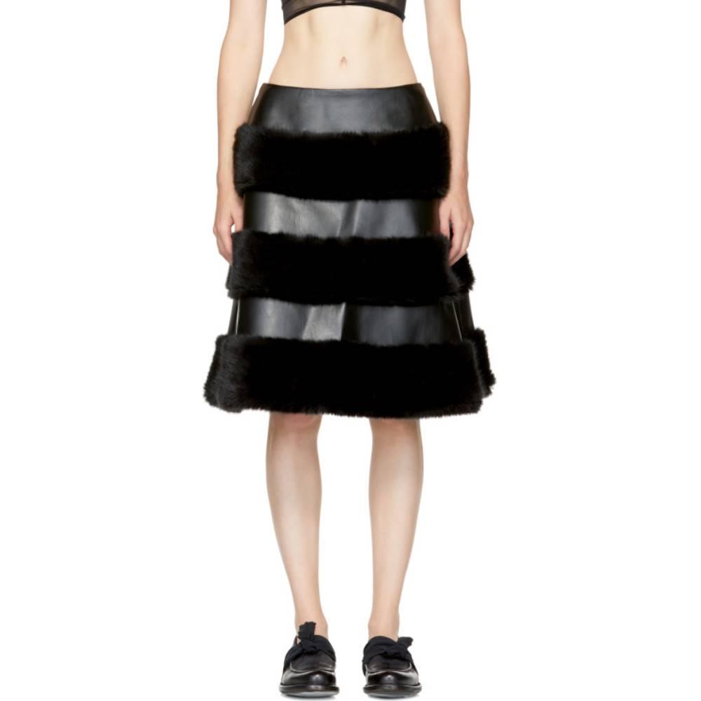 ノワール ケイ ニノミヤ レディース スカート ひざ丈スカート【Black Faux-Leather Skirt】