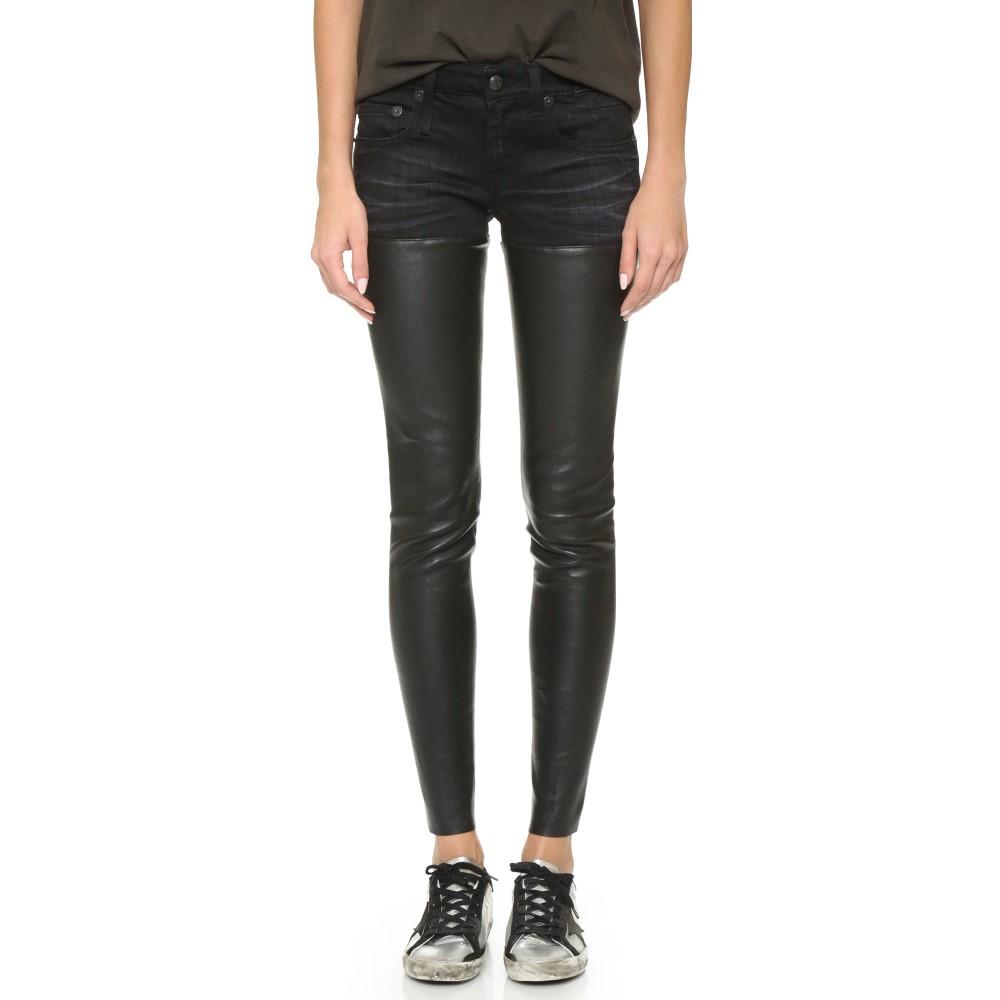 アール サーティーン R13 レディース ボトムス ジーンズ【Leather Chaps Jeans】Black