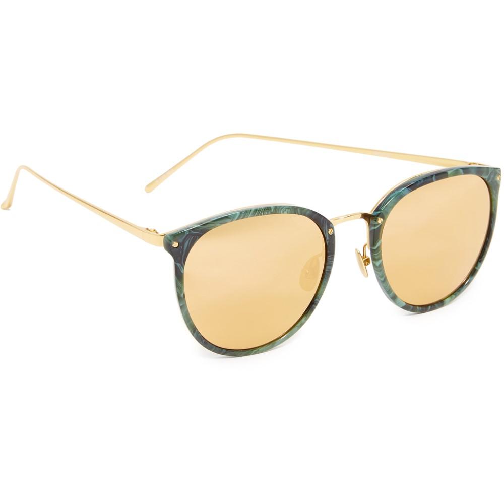 リンダ ファロー Linda Farrow Luxe レディース アクセサリー メガネ・サングラス【Round Mirrored Sunglasses】Jade/Gold