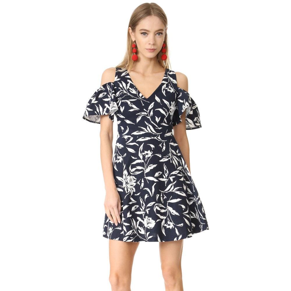 ジェー オー エー J.O.A. レディース トップス ワンピース【Flower Print Cold Shoulder Dress】Navy Multi