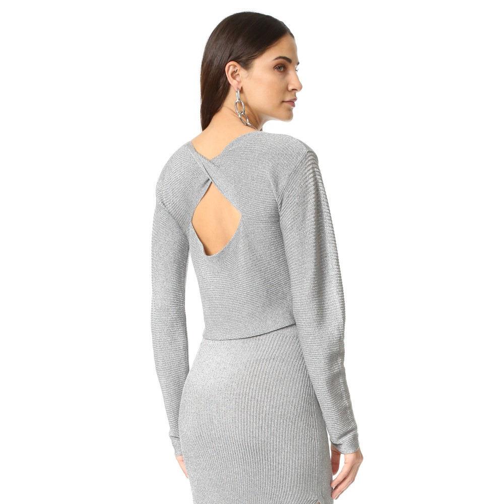 ミュグレー Mugler レディース トップス Tシャツ【Long Sleeve Top】Silver
