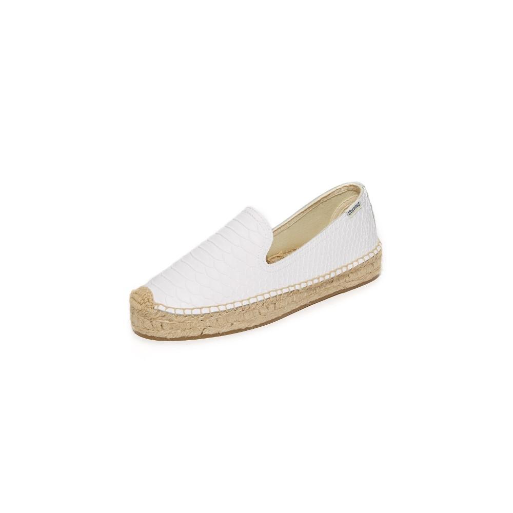 ソルドス Soludos レディース シューズ・靴 フラット【Snake Platform Smoking Slippers】White