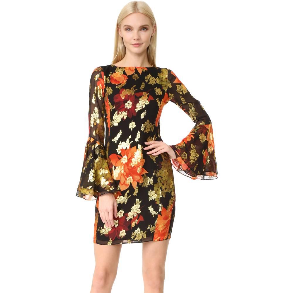 ハニー HANEY レディース トップス ワンピース【Alisa Long Sleeve Dress】Black/Red/Gold Print