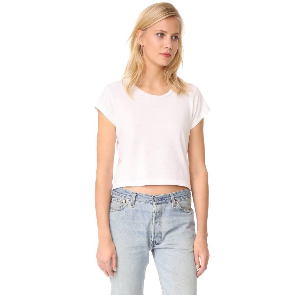 リダン RE/DONE レディース トップス Tシャツ【x Hanes 1950s Boxy Crop Tee】Vintage White