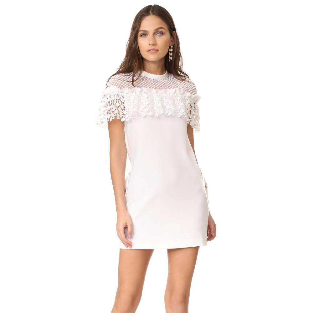 セルフ ポートレイト Self Portrait レディース トップス ワンピース【Mixed Floral Frill Mini Dress】White