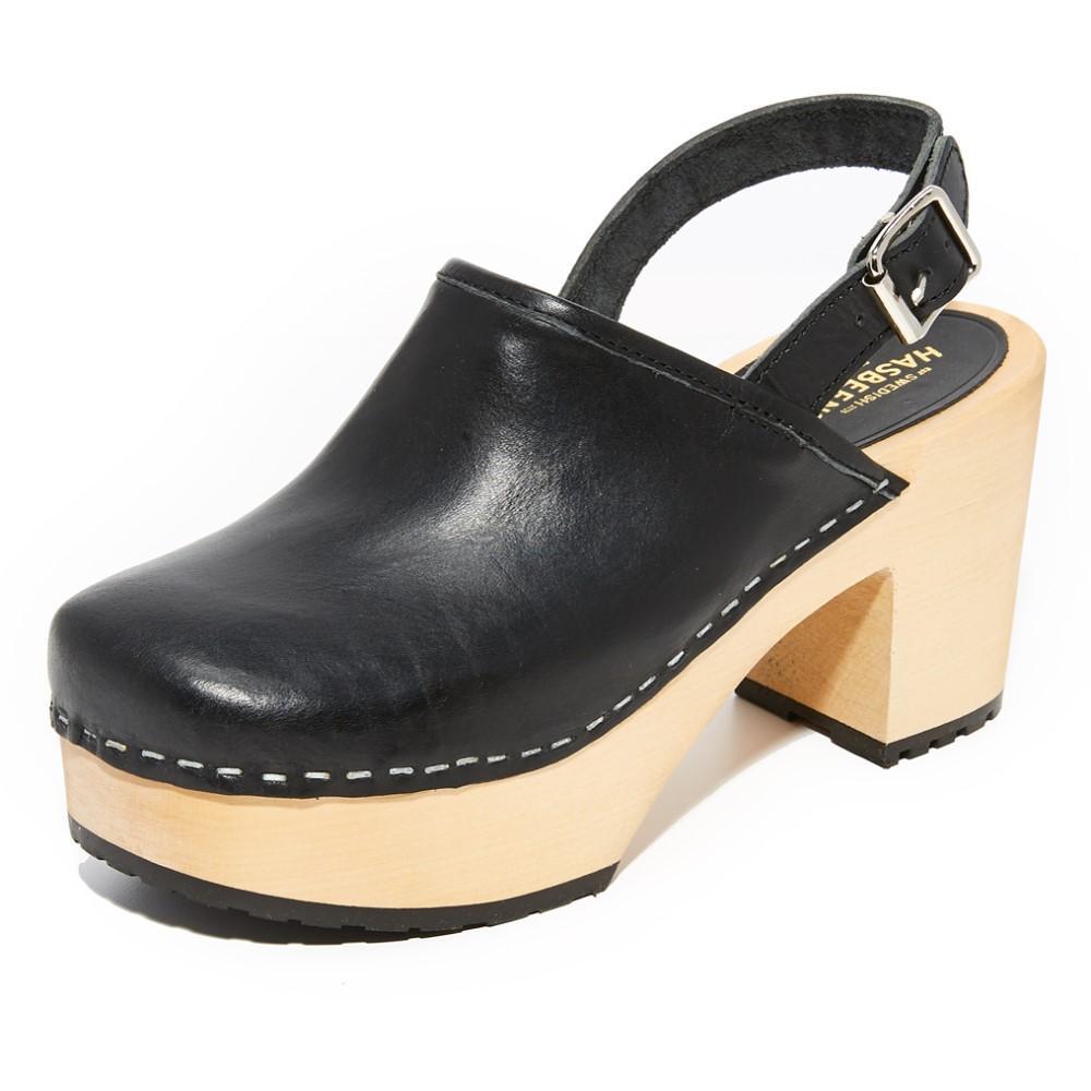 スウェディッシュ ハズビーンズ Swedish Hasbeens レディース シューズ・靴 サンダル【Jill Plateau Clogs】Black