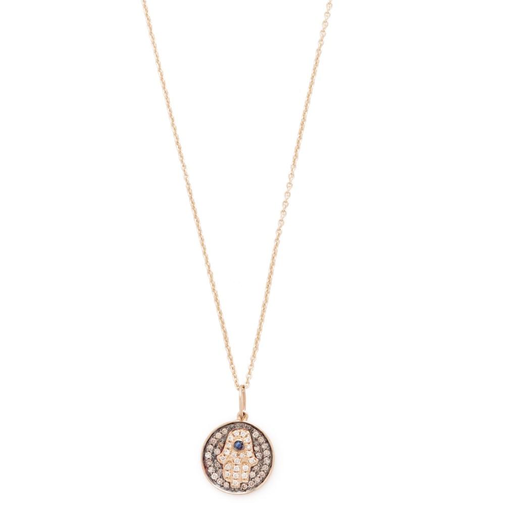 シドニーエヴァン Sydney Evan レディース アクセサリー ネックレス【Small Hamsa Medallion Charom Necklace】Black/Gold
