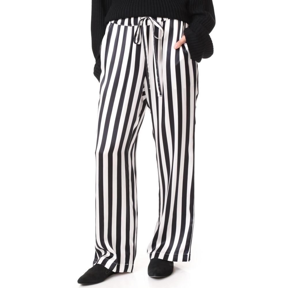 アニン ビン レディース インナー・下着 パジャマ・ボトムのみ【Satin Pajama Pants】Black/White