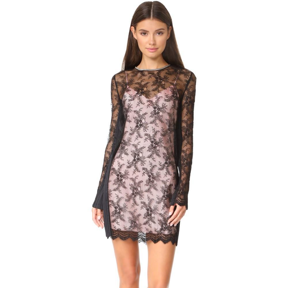 アレキサンダー ワン レディース ワンピース・ドレス パーティードレス【Long Sleeve Lace Dress with Chain Trim】Onyx