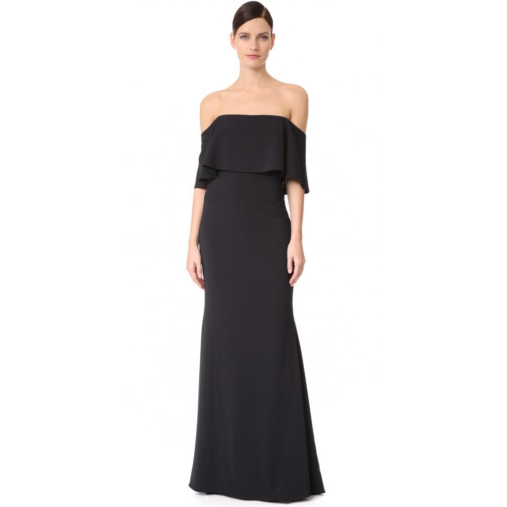 バッジェリー ミシュカ レディース ワンピース・ドレス パーティードレス【Ribbon Laces Cape Gown】Black