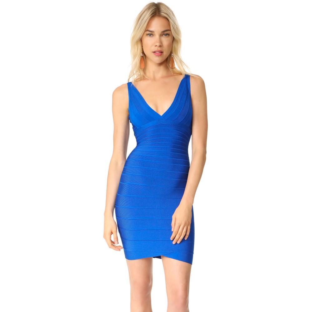 エルベ レジェ レディース ワンピース・ドレス パーティードレス【V Neck Dress】Bright Blue