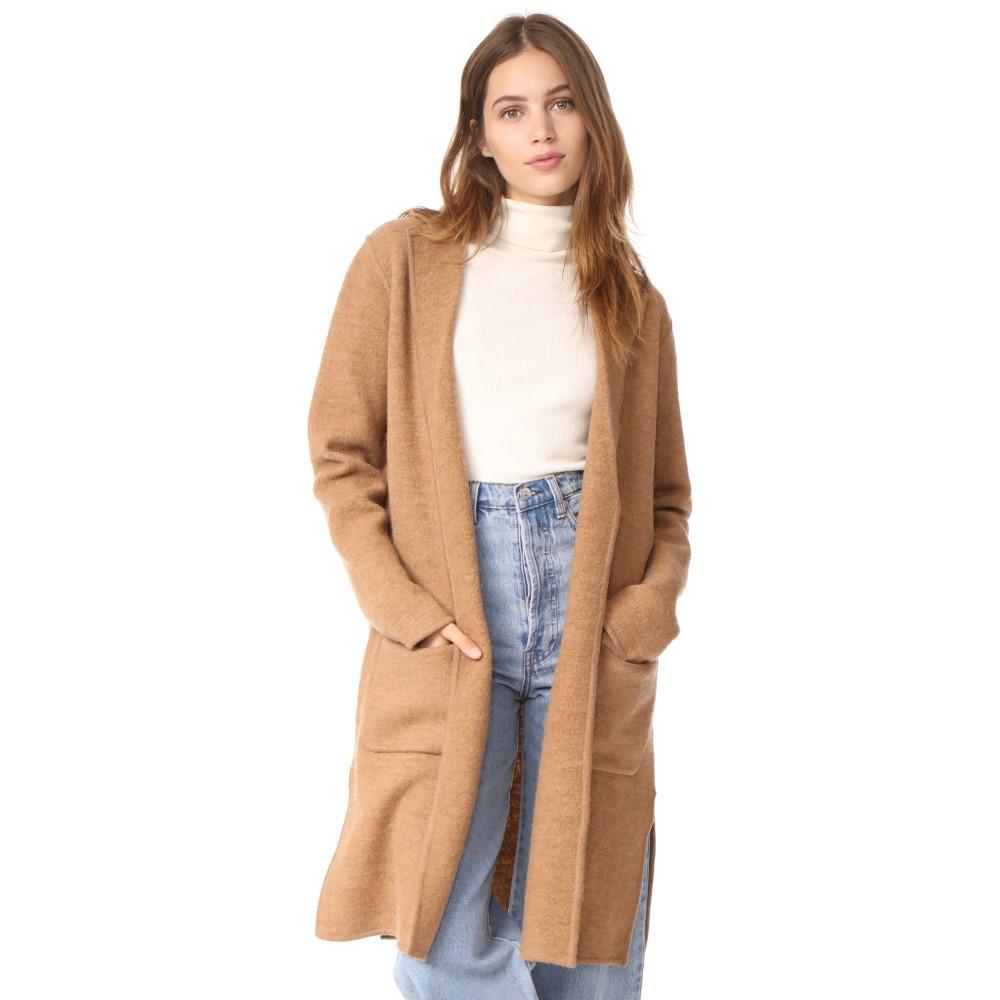メイドウェル レディース アウター コート【Daphne Knit Car Coat】Heather Camel