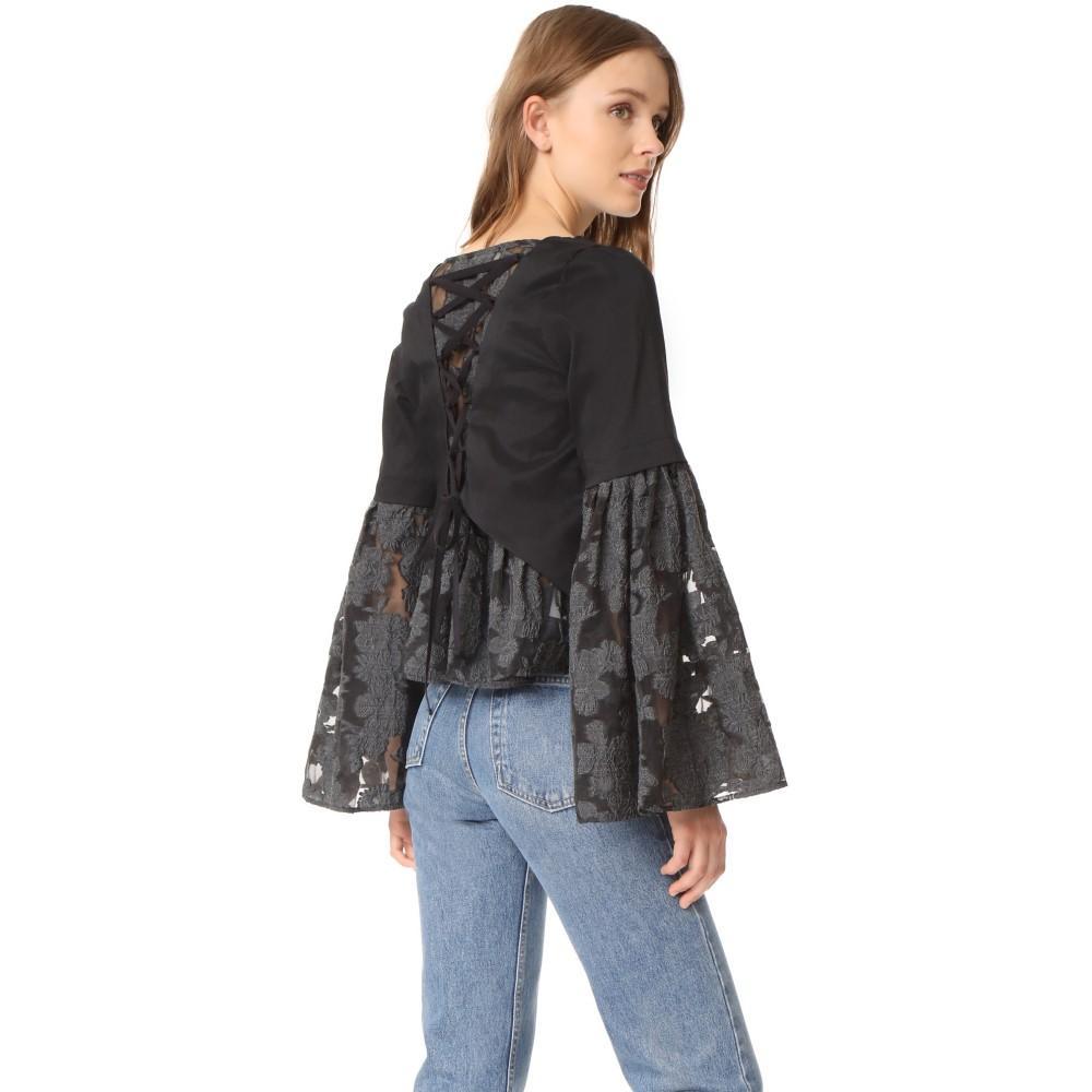 シー レディース トップス ブラウス・シャツ【Lace Back Bell Sleeve Blouse】Black