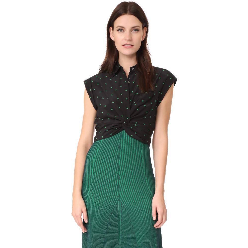 アレキサンダー ワン レディース トップス ブラウス・シャツ【Collared Knot Front Shirt】Black with Emerald Print