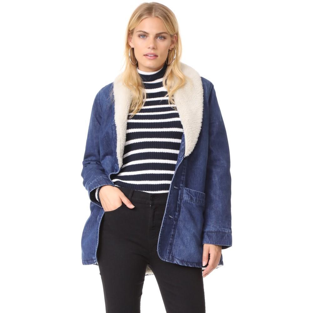 ローラズ レディース アウター コート【Denim Pea Coat with Sherpa Lining】Ink Blue