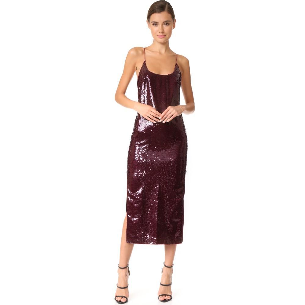 ヴァタニカ レディース ワンピース・ドレス パーティードレス【High Zip Slit Sequin Slip Dress】Burgundy