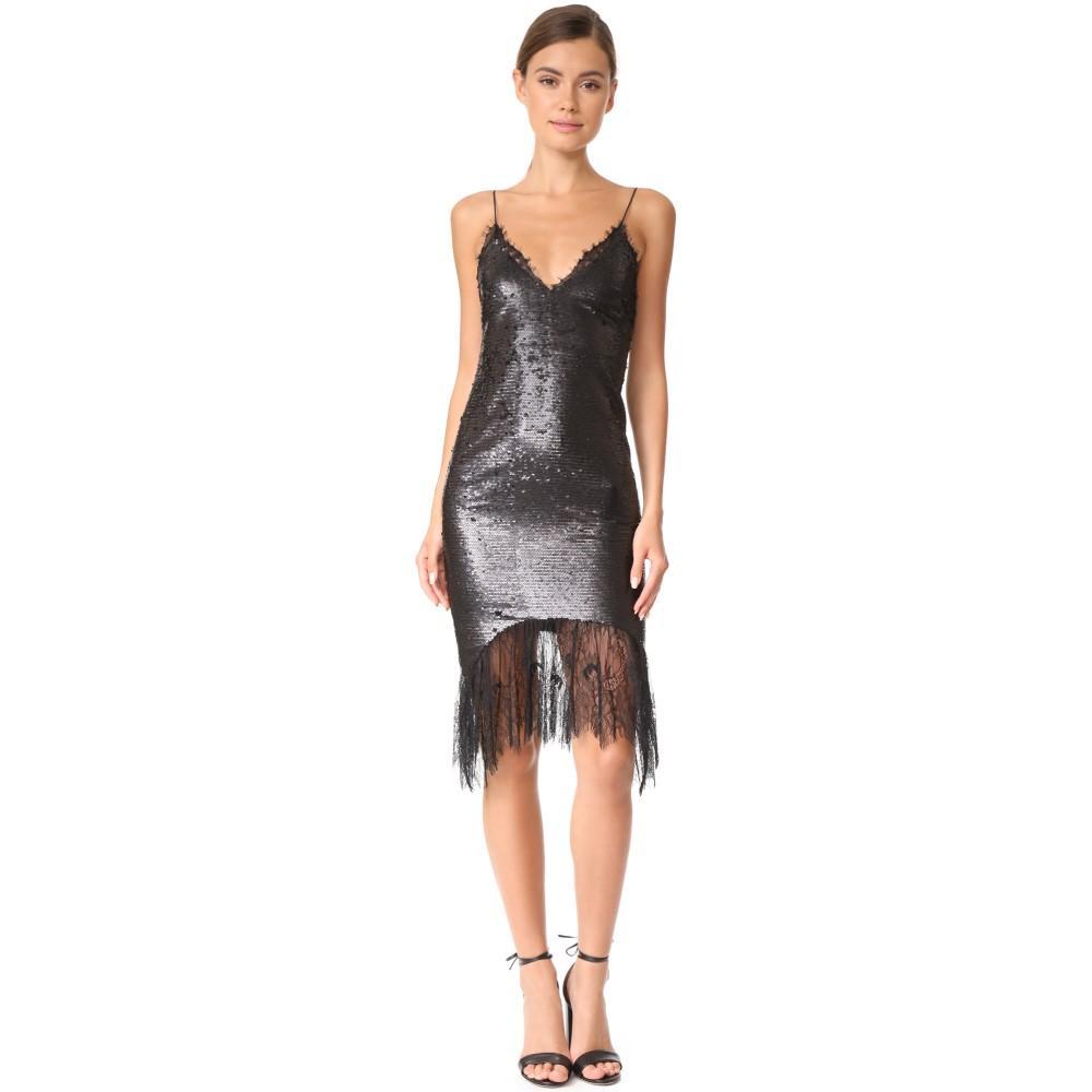 ヴァタニカ レディース ワンピース・ドレス パーティードレス【Lace Trimmed Sequin Slip Dress】Black