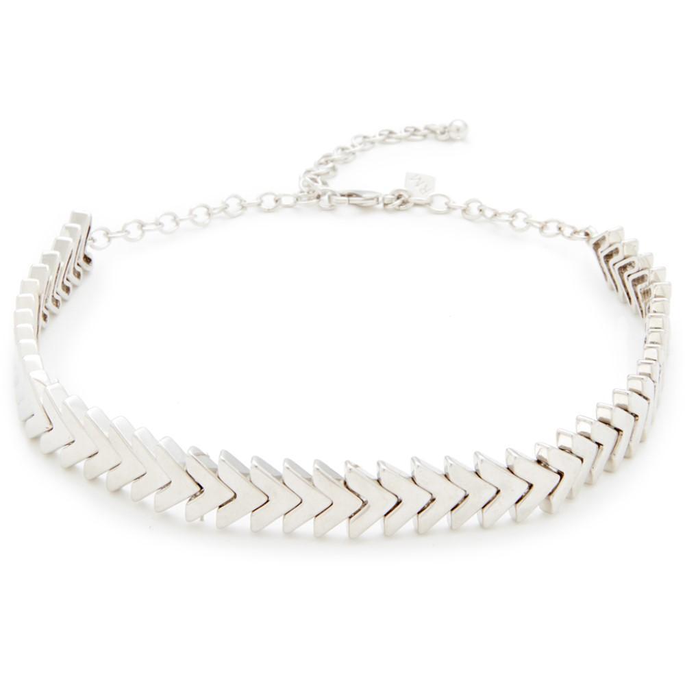 レベッカ ミンコフ レディース ジュエリー・アクセサリー ネックレス【Chevron Stretch Choker Necklace】Silver