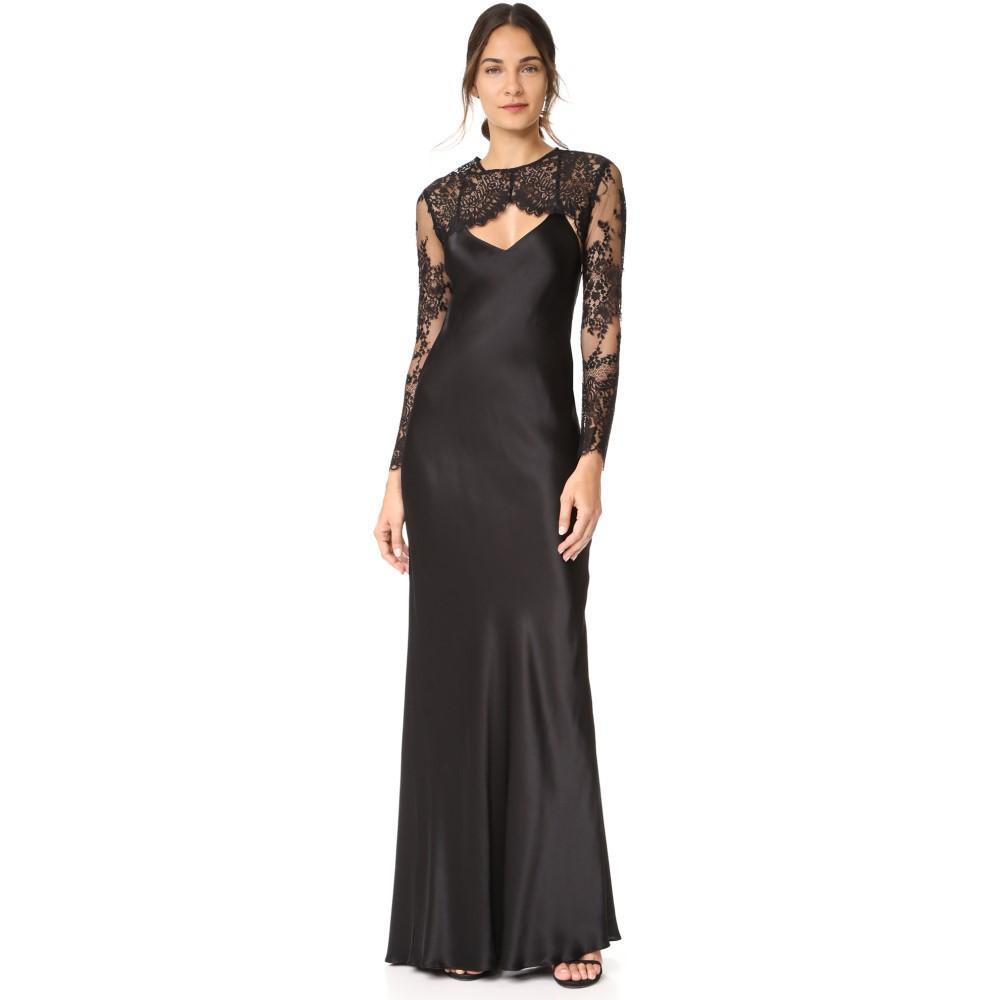 ミシェル メイソン レディース ワンピース・ドレス パーティードレス【Bias Maxi Gown with Lace Shrug】Black