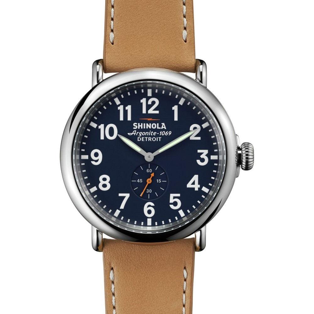シャイノーラ Shinola メンズ アクセサリー 腕時計【Runwell 47mm Leather Watch】Navy/Tan