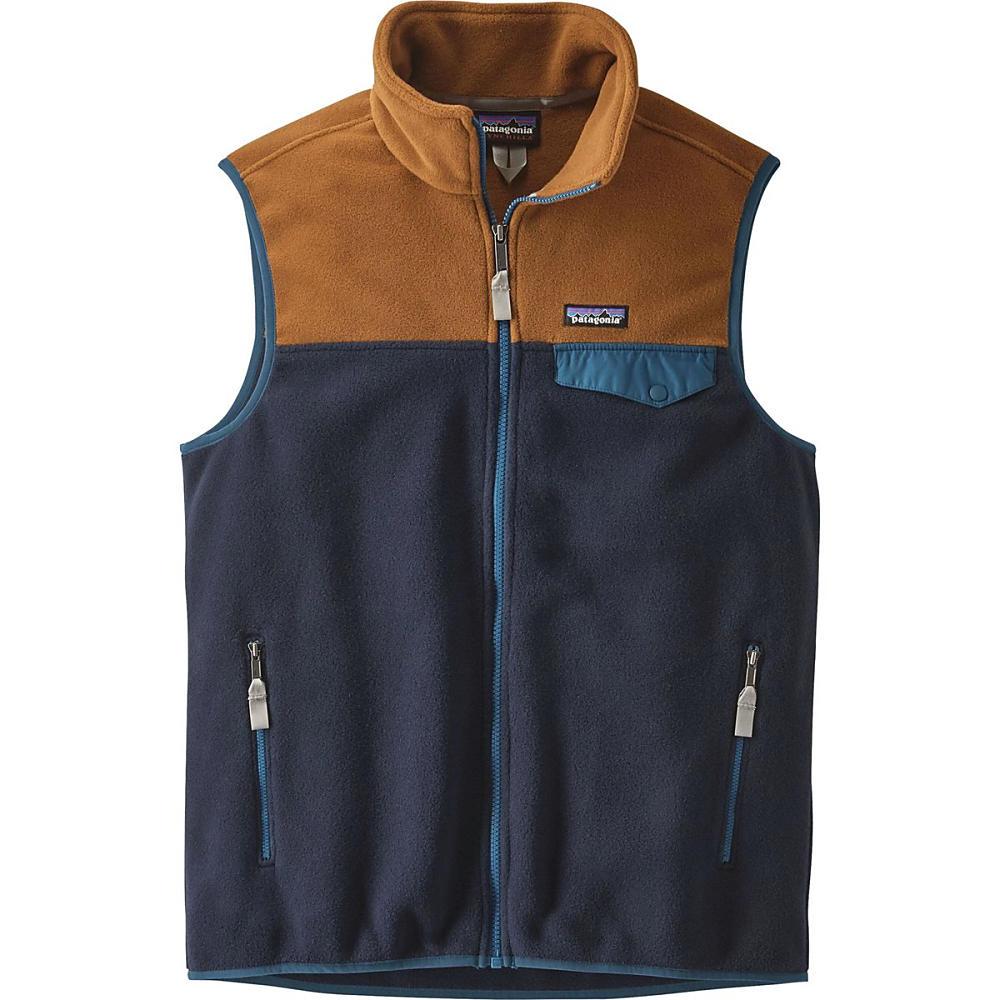 パタゴニア メンズ トップス ベスト・ジレ【Lightweight Synchilla Snap - T Fleece Vests】Navy Blue/Bear Brown