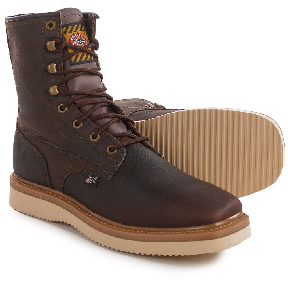 ジャスティンブーツ Justin Boots メンズ シューズ・靴 ブーツ【Flakeboard Work Boots - Leather 】Brown