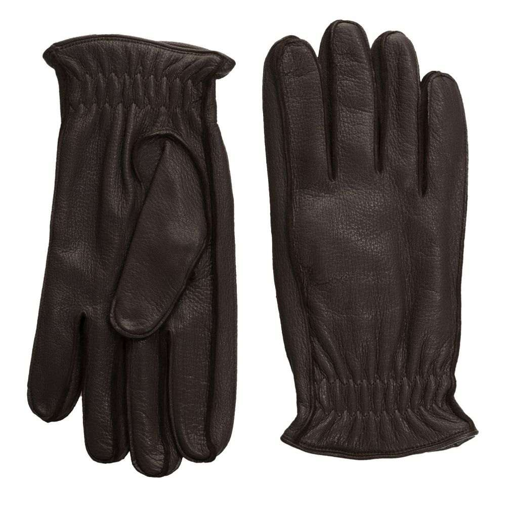 ポルトラーノ メンズ 手袋・グローブ【Elasticized Deerskin Gloves - Cashmere Lined】Dark Brown