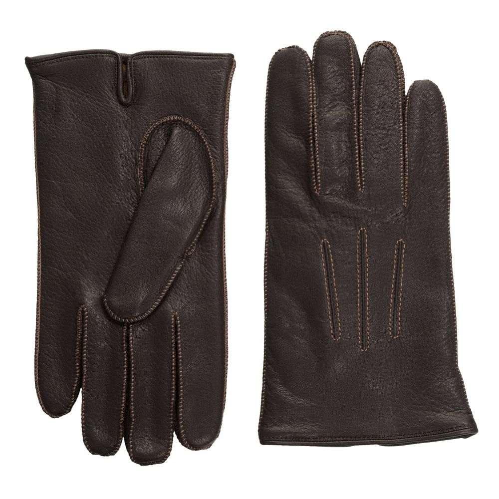 ポルトラーノ メンズ 手袋・グローブ【Deerskin Gloves - Cashmere Lined】Chocolate Brown/Dark Camel