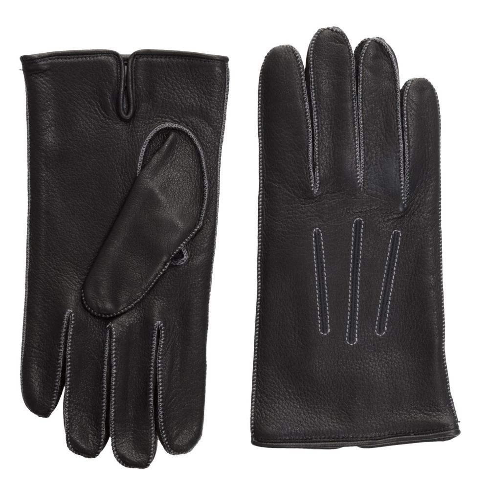 ポルトラーノ メンズ 手袋・グローブ【Deerskin Gloves - Cashmere Lined】Black/Medium Grey