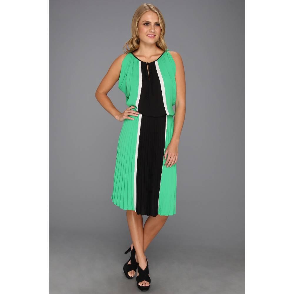 ビーシービージーマックスアズリア レディース ワンピース・ドレス ワンピース【Iona Color Blocked Dress w/Pleated Skirt】Evergreen Combo