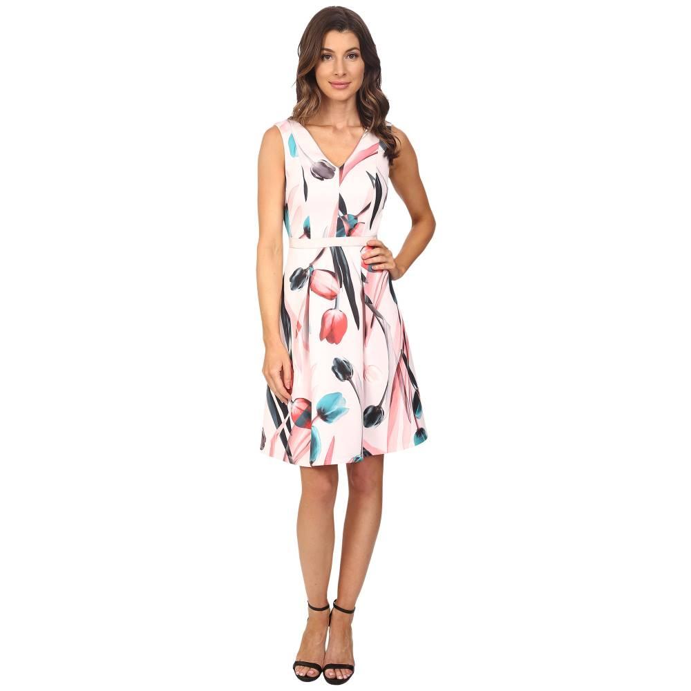 アドリアナ パペル レディース ワンピース・ドレス ワンピース【Printed Scuba Abstract Floral Fit & Flare Dress】Pink Multi