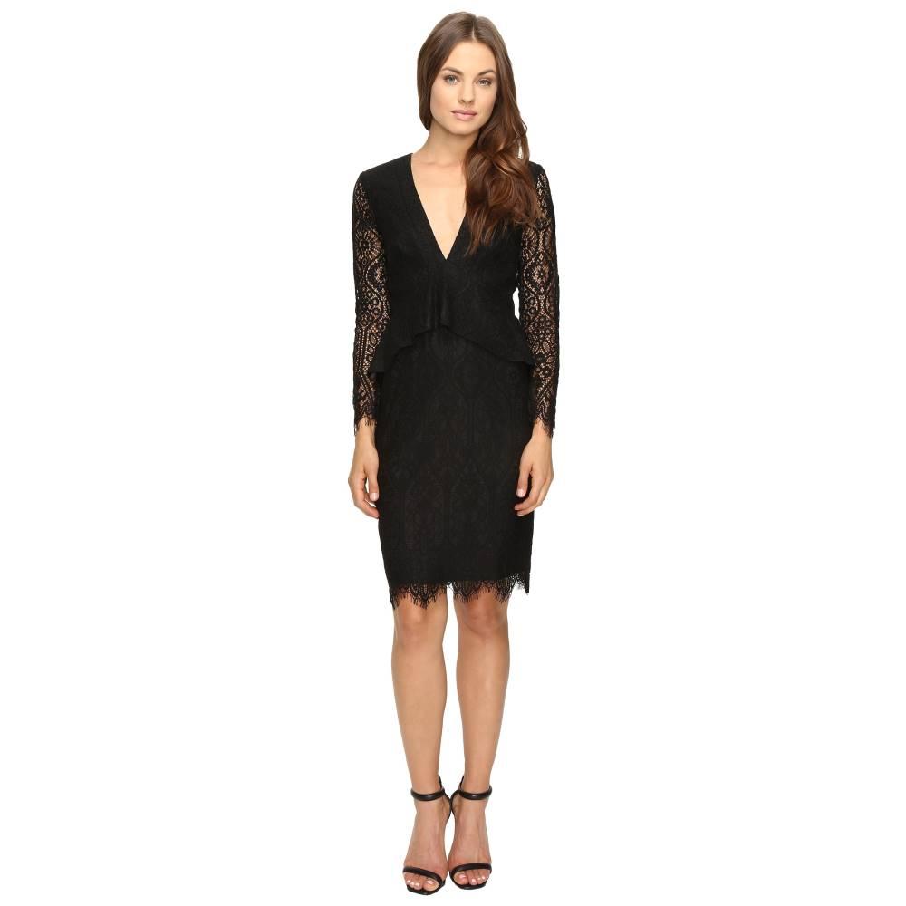 アドレイン ラエ Adelyn Rae レディース トップス ワンピース【Lace Long Sleeve Dress with Ruffle Peplum】Black