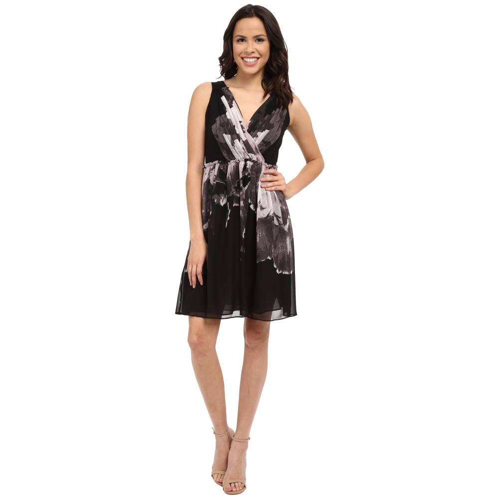 アドリアナ パペル レディース ワンピース・ドレス ワンピース【Deep V-Neck Gathered Waist Fit and Flare Dress】Black/Pink