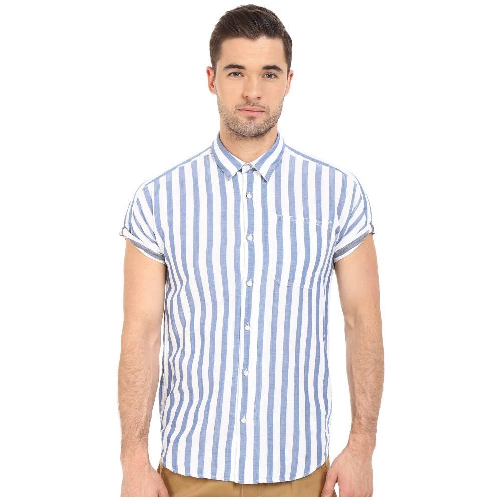 スコッチ&ソーダ メンズ トップス 半袖シャツ【Short Sleeve Shirt in Open Weave with Contrast Inside】Light Blue