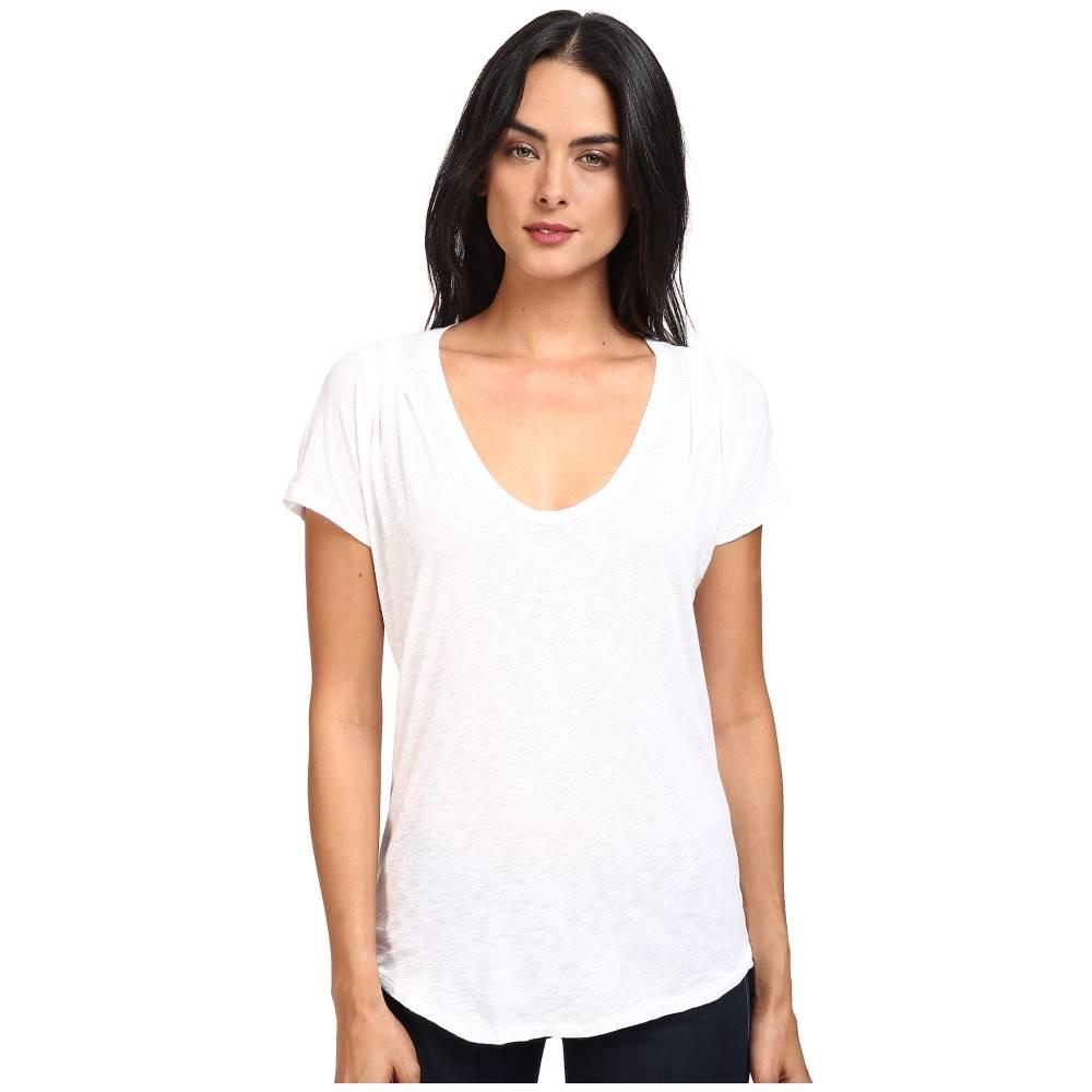 スプレンディッド レディース トップス Tシャツ【Slub Tees Pleat Shoulder Top】White