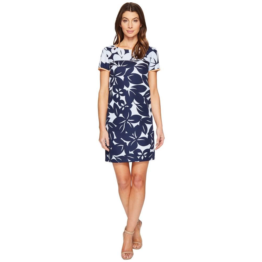 ロンドンタイムス London Times レディース トップス ワンピース【Bedrock Blossom Short Sleeve Shif Dress】Blue/Navy