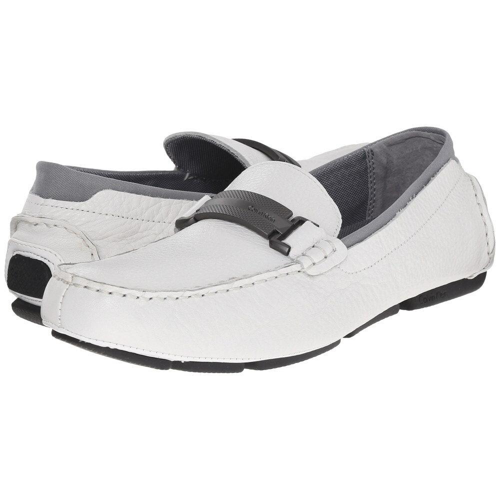 カル�ンクライン Calvin Klein メンズ シューズ・� フラット�Maxim】White Tumbled Leather