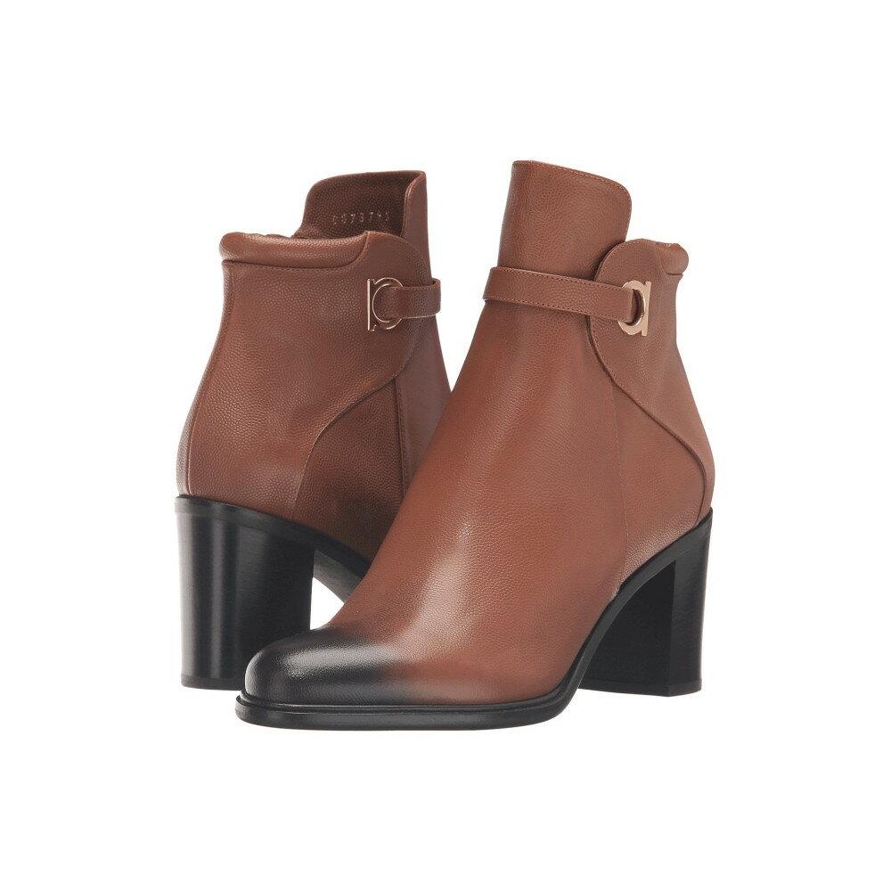 サルヴァトーレ フェラガモ レディース シューズ・靴 ブーツ【Pebbled Leather Bootie with Block Heel】Ecorce Light Pebbled Leather