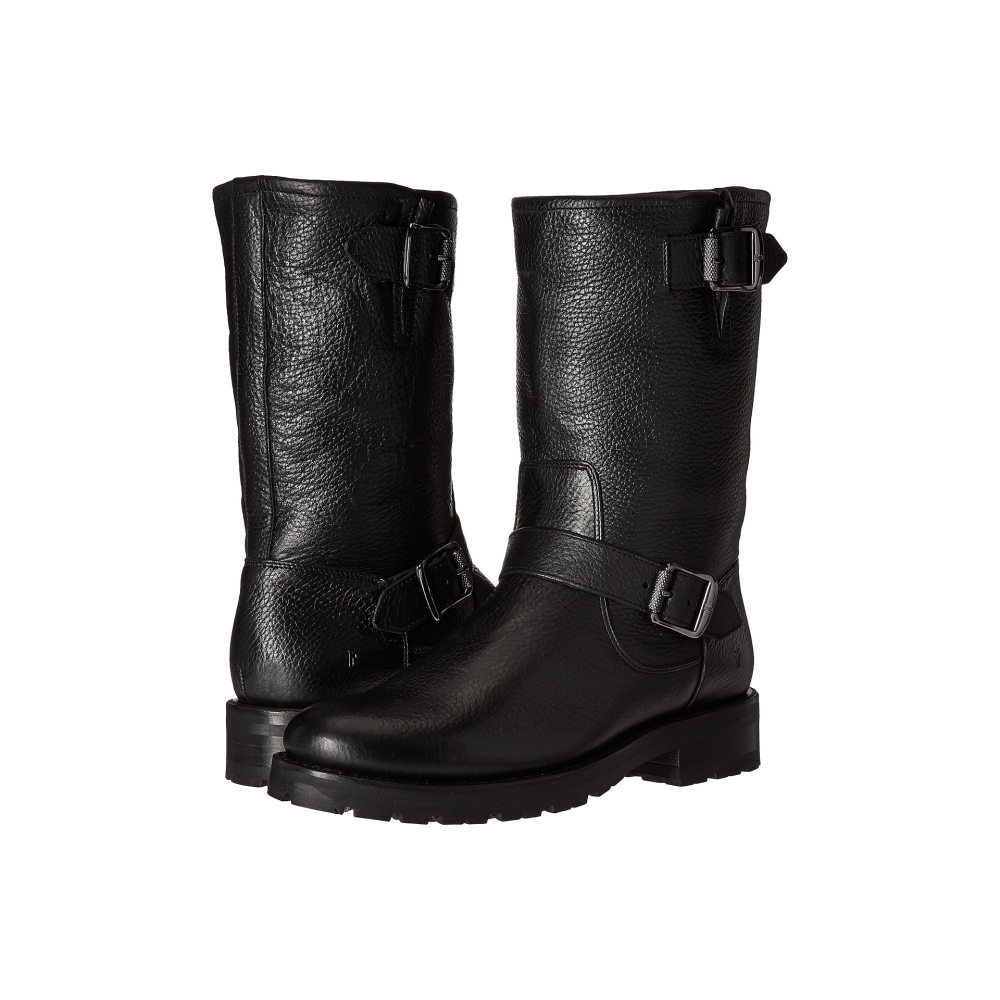 フライ レディース シューズ・靴 ブーツ【Natalie Mid Engineer Lug】Black Waterproof Waxed Pebbled Leather/Shearling
